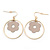 Gold Plated Hoop With Magnolia Flower Drop Earrings - 45mm Length - view 5