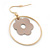 Gold Plated Hoop With Magnolia Flower Drop Earrings - 45mm Length - view 2