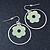 Silver Tone Hoop With Pastel Green Flower Drop Earrings - 45mm Length