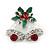 Christmas 'Jingle Bells' Red/ Clear Crystal, White/Green Enamel Stud Earrings In Rhodium Plating - 20mm Width - view 7