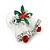Christmas 'Jingle Bells' Red/ Clear Crystal, White/Green Enamel Stud Earrings In Rhodium Plating - 20mm Width - view 8