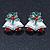 Christmas 'Jingle Bells' Red/ Clear Crystal, White/Green Enamel Stud Earrings In Rhodium Plating - 20mm Width - view 5
