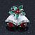 Christmas 'Jingle Bells' Red/ Clear Crystal, White/Green Enamel Stud Earrings In Rhodium Plating - 20mm Width - view 6