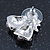 Christmas 'Jingle Bells' Red/ Clear Crystal, White/Green Enamel Stud Earrings In Rhodium Plating - 20mm Width - view 4