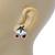 Christmas 'Jingle Bells' Red/ Clear Crystal, White/Green Enamel Stud Earrings In Rhodium Plating - 20mm Width - view 3