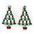 Red, Deep Green Crystal, Green Enamel Christmas Tree Stud Earrings In Rhodium Plating - 30mm Length