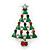 Red, Deep Green Crystal, Green Enamel Christmas Tree Stud Earrings In Rhodium Plating - 30mm Length - view 8