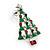 Red, Deep Green Crystal, Green Enamel Christmas Tree Stud Earrings In Rhodium Plating - 30mm Length - view 6