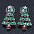 Red, Deep Green Crystal, Green Enamel Christmas Tree Stud Earrings In Rhodium Plating - 30mm Length - view 2