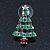 Red, Deep Green Crystal, Green Enamel Christmas Tree Stud Earrings In Rhodium Plating - 30mm Length - view 9