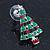 Red, Deep Green Crystal, Green Enamel Christmas Tree Stud Earrings In Rhodium Plating - 30mm Length - view 7