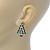 Red, Deep Green Crystal, Green Enamel Christmas Tree Stud Earrings In Rhodium Plating - 30mm Length - view 4