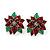 Christmas Dark Red/ Green Enamel Poinsettia Holiday Stud Earrings In Rhodium Plating - 25mm Diameter