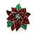 Christmas Dark Red/ Green Enamel Poinsettia Holiday Stud Earrings In Rhodium Plating - 25mm Diameter - view 8