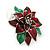 Christmas Dark Red/ Green Enamel Poinsettia Holiday Stud Earrings In Rhodium Plating - 25mm Diameter - view 6