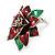 Christmas Dark Red/ Green Enamel Poinsettia Holiday Stud Earrings In Rhodium Plating - 25mm Diameter - view 7