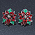 Christmas Dark Red/ Green Enamel Poinsettia Holiday Stud Earrings In Rhodium Plating - 25mm Diameter - view 2