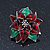 Christmas Dark Red/ Green Enamel Poinsettia Holiday Stud Earrings In Rhodium Plating - 25mm Diameter - view 9