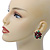 Christmas Dark Red/ Green Enamel Poinsettia Holiday Stud Earrings In Rhodium Plating - 25mm Diameter - view 3