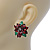 Christmas Dark Red/ Green Enamel Poinsettia Holiday Stud Earrings In Rhodium Plating - 25mm Diameter - view 4