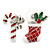 White/ Red/ Green Enamel 'Candy Cane & Christmas Stocking' In Rhodium Plating - 20mm Length - view 2