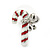 White/ Red/ Green Enamel 'Candy Cane & Christmas Stocking' In Rhodium Plating - 20mm Length - view 9