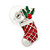 White/ Red/ Green Enamel 'Candy Cane & Christmas Stocking' In Rhodium Plating - 20mm Length - view 11