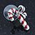 White/ Red/ Green Enamel 'Candy Cane & Christmas Stocking' In Rhodium Plating - 20mm Length - view 12