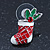 White/ Red/ Green Enamel 'Candy Cane & Christmas Stocking' In Rhodium Plating - 20mm Length - view 7