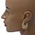 Medium Matt Gold Filigree Creole Hoop Earrings - 30mm Diameter - view 2