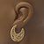Medium Matt Gold Filigree Creole Hoop Earrings - 30mm Diameter - view 6
