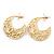 Medium Matt Gold Filigree Creole Hoop Earrings - 30mm Diameter