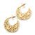 Medium Matt Gold Filigree Creole Hoop Earrings - 30mm Diameter - view 3