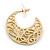 Medium Matt Gold Filigree Creole Hoop Earrings - 30mm Diameter - view 4