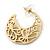 Medium Matt Gold Filigree Creole Hoop Earrings - 30mm Diameter - view 8