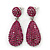 Bridal, Prom, Wedding Pave Fuchsia Austrian Crystal Teardrop Earrings In Rhodium Plating - 48mm Length