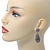 Bridal, Prom, Wedding Pave Hematite Coloured Austrian Crystal Teardrop Earrings In Rhodium Plating - 48mm Length - view 7