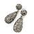 Bridal, Prom, Wedding Pave Hematite Coloured Austrian Crystal Teardrop Earrings In Rhodium Plating - 48mm Length - view 8