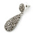 Bridal, Prom, Wedding Pave Hematite Coloured Austrian Crystal Teardrop Earrings In Rhodium Plating - 48mm Length - view 5
