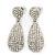 Bridal, Prom, Wedding Pave Clear Austrian Crystal Teardrop Earrings In Rhodium Plating - 48mm Length - view 2