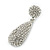 Bridal, Prom, Wedding Pave Clear Austrian Crystal Teardrop Earrings In Rhodium Plating - 48mm Length - view 5