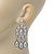 Bridal, Wedding, Prom Glass Pearl Chandelier Earrings In Rhodium Plating - 60mm Length - view 4