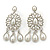 Bridal, Wedding, Prom Glass Pearl Chandelier Earrings In Rhodium Plating - 60mm Length - view 2