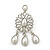 Bridal, Wedding, Prom Glass Pearl Chandelier Earrings In Rhodium Plating - 60mm Length - view 9