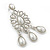 Bridal, Wedding, Prom Glass Pearl Chandelier Earrings In Rhodium Plating - 60mm Length - view 10