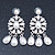 Bridal, Wedding, Prom Glass Pearl Chandelier Earrings In Rhodium Plating - 60mm Length