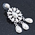 Bridal, Wedding, Prom Glass Pearl Chandelier Earrings In Rhodium Plating - 60mm Length - view 5