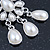 Bridal, Wedding, Prom Glass Pearl Chandelier Earrings In Rhodium Plating - 60mm Length - view 7