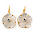 Gold Plated Mother Of Pearl Crystal Flower Drop Earrings With Leverback Closure - 28mm L - view 7