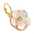 Gold Plated Mother Of Pearl Crystal Flower Drop Earrings With Leverback Closure - 28mm L - view 4